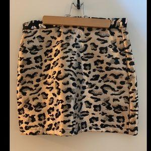 Leopard print metallic skirt